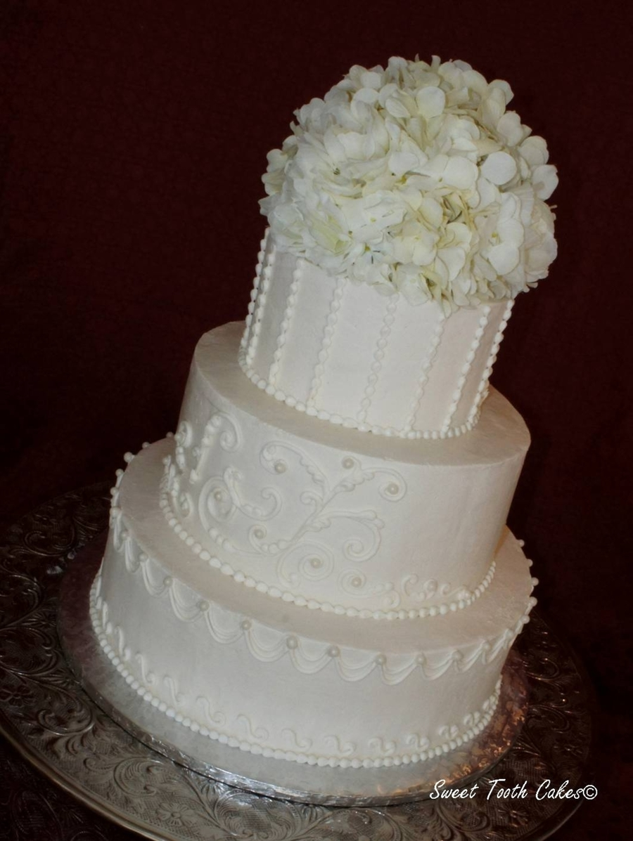 White Buttercream Wedding Cake on Cake Central