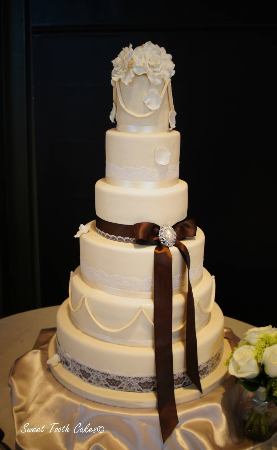 Ivory And Lace Wedding on Cake Central