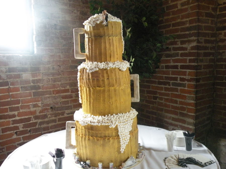 Bride And Groom Wanted 3 Beer Mugs Stacked For Their Wedding Cake - Beer Can Wedding Cake