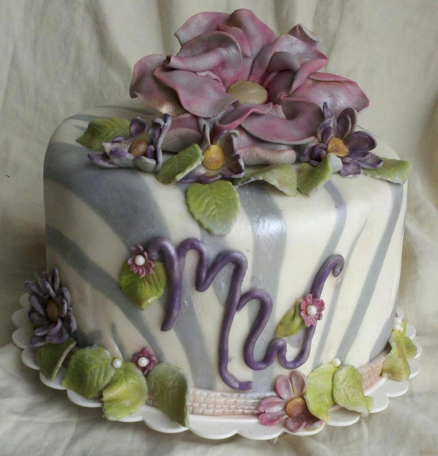 Shabby Chic Zebra on Cake Central