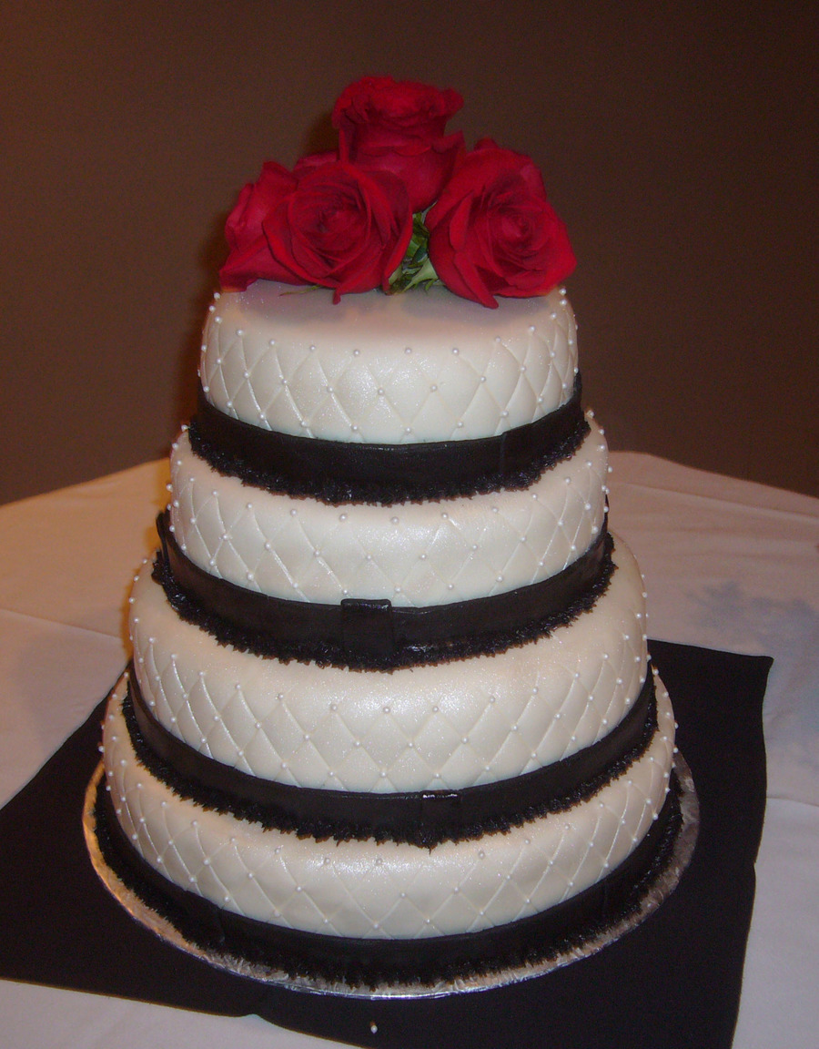 Black And White 4 Tier Wedding Cake on Cake Central