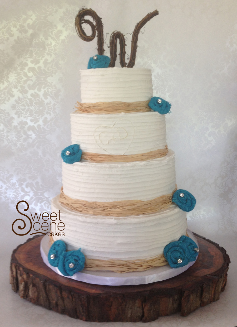 country wedding cake turquoise rustic teal wedding cake cakecentral 13008