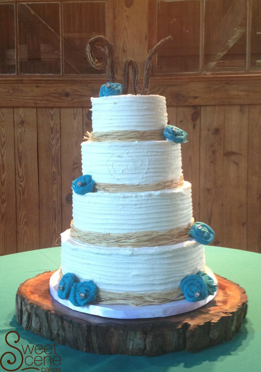 Rustic Teal Wedding Cake Cakecentral Com