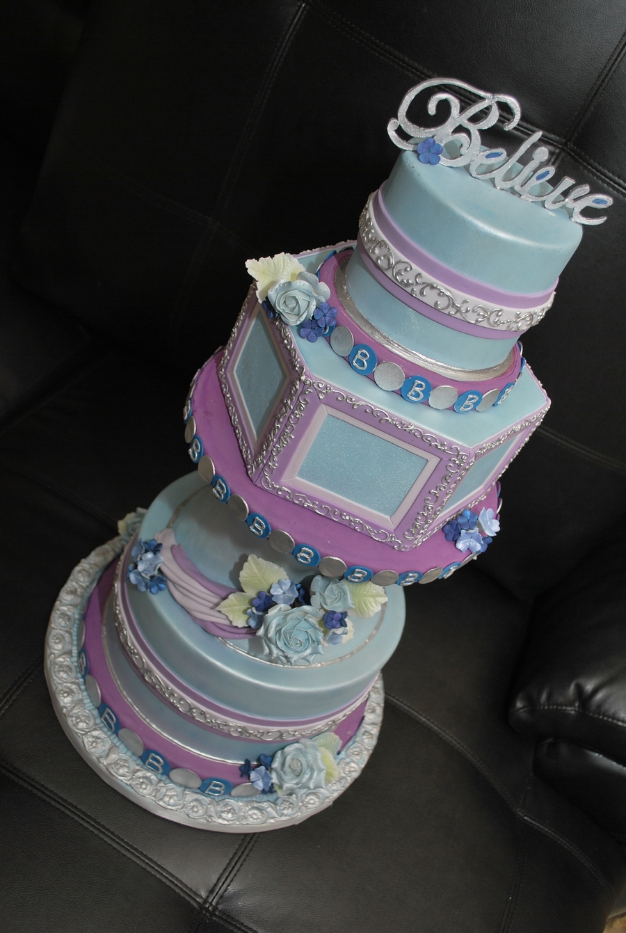 Blue And Purple Wedding on Cake Central