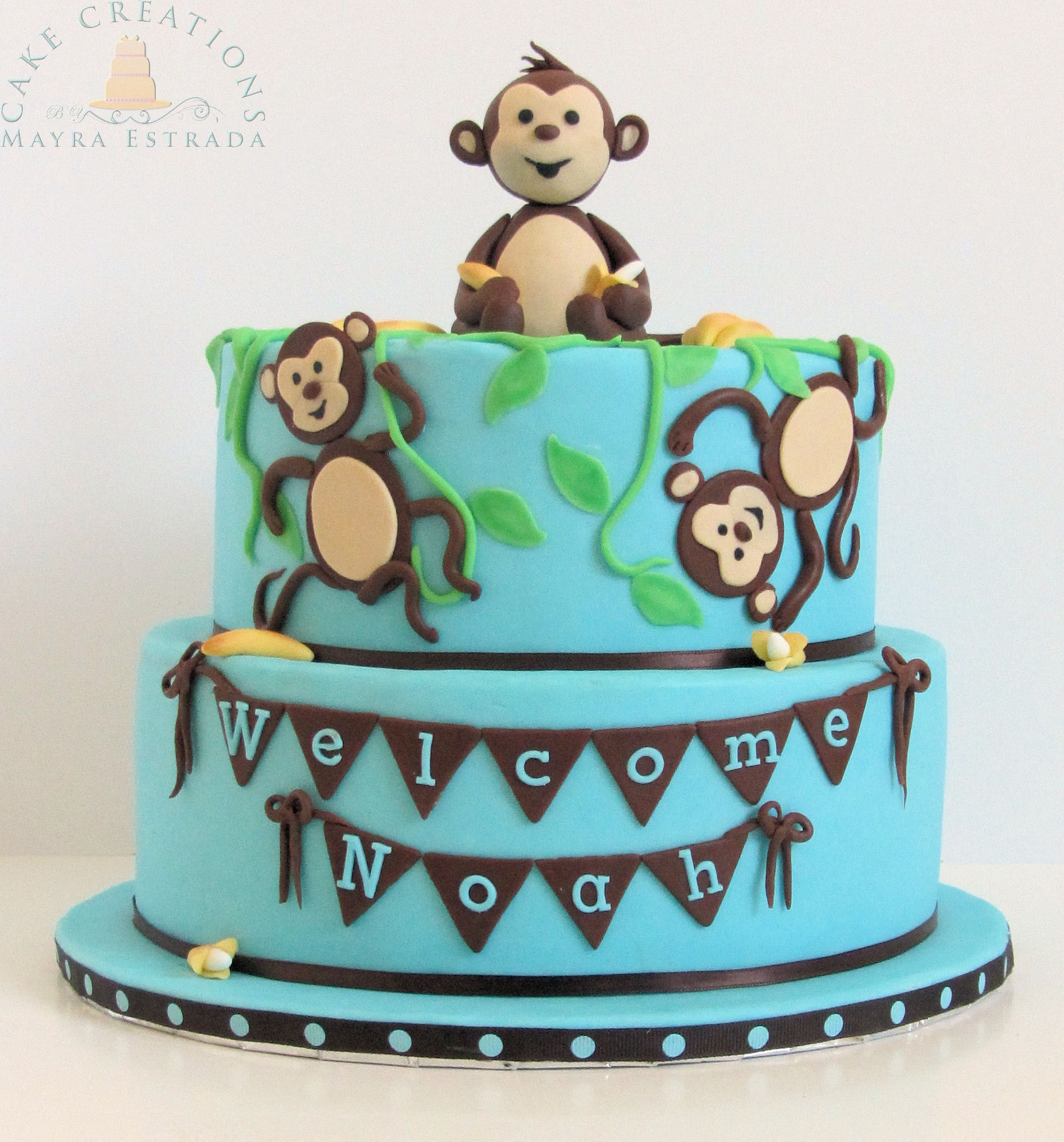 Monkeys bananas baby shower themed cake - Baby shower monkey theme cakes ...