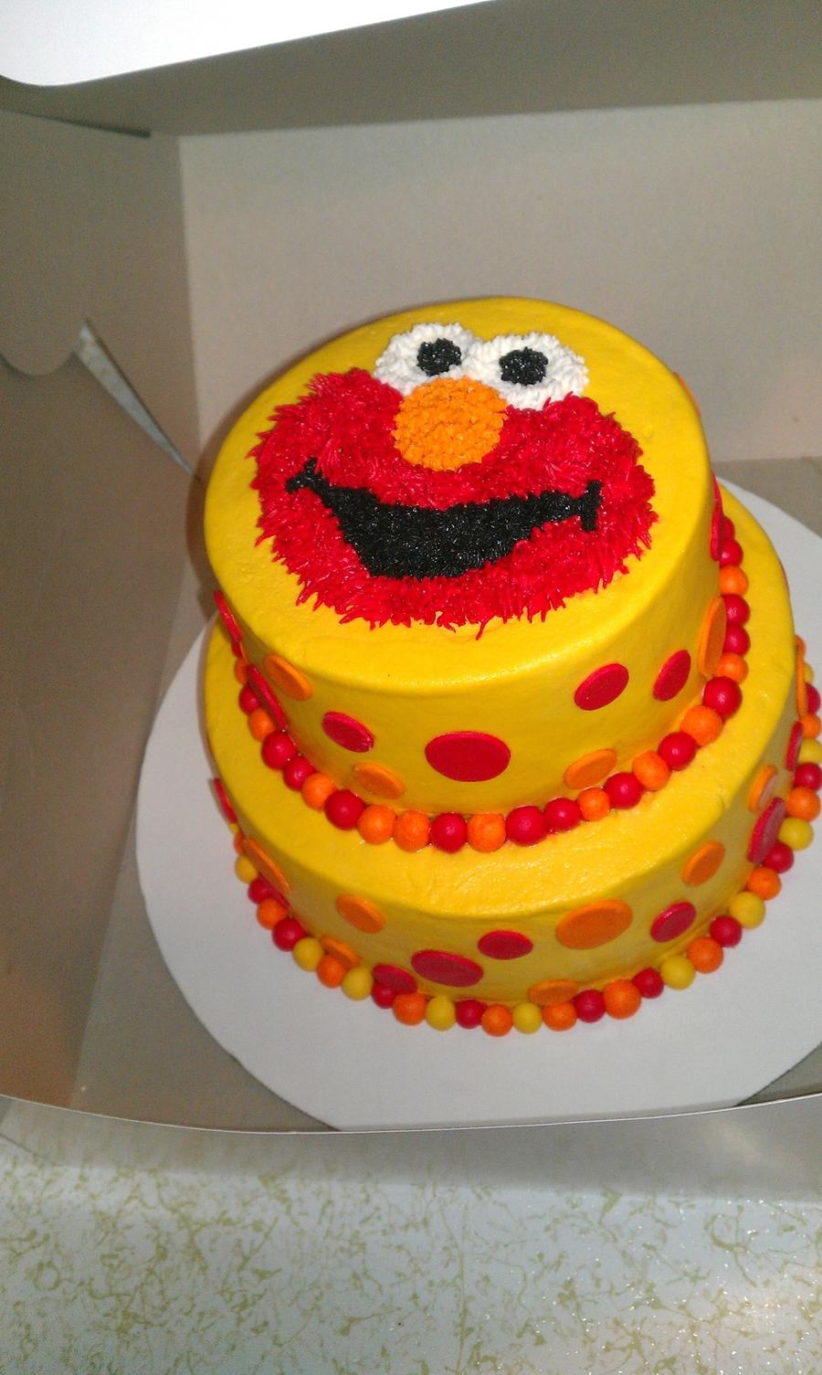 tier Elmo cake with fondant ball border and polka dots. Chocolate cake ...