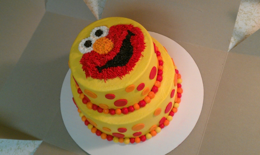 Two Tier Elmo Cake With Fondant Ball Border And Polka Dots Chocolate Vanilla Buttercream