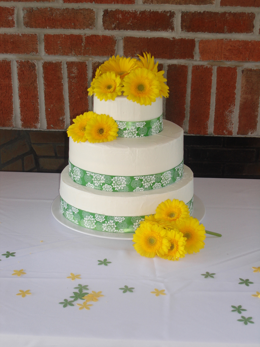 Yellow Gerber Daisy Wedding Cake on Cake Central