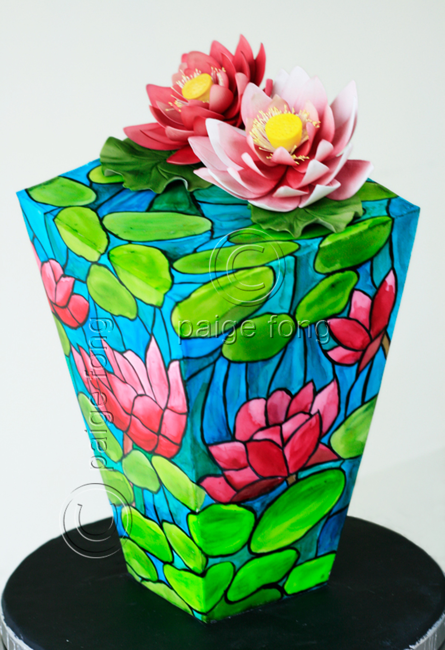 Stained Glass Inverted Waterlily Cake  on Cake Central