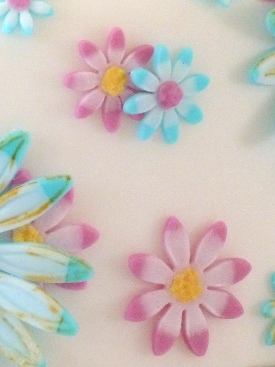 White With Hot Pink And Teal Simple Flowers Cakecentral