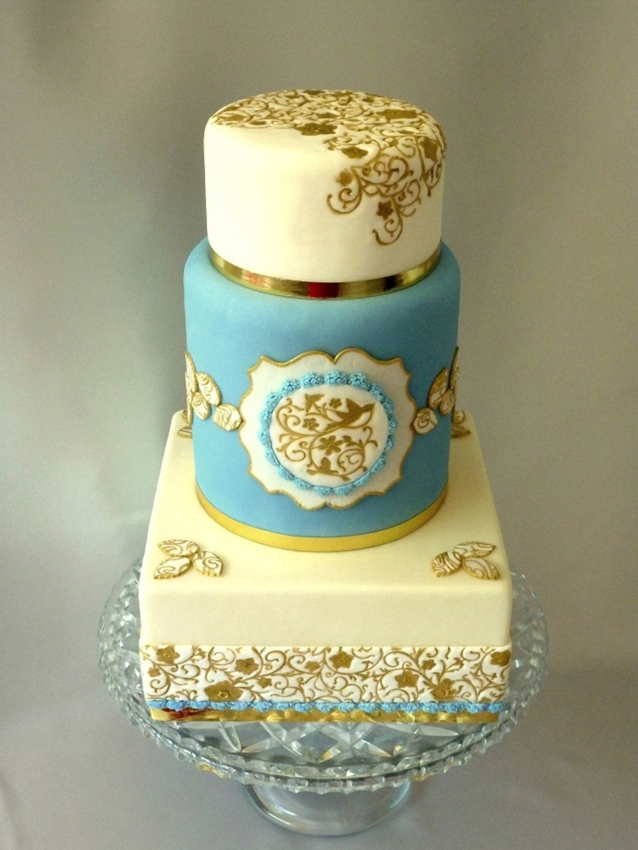 White And Blue With Golden Accents - CakeCentral.com