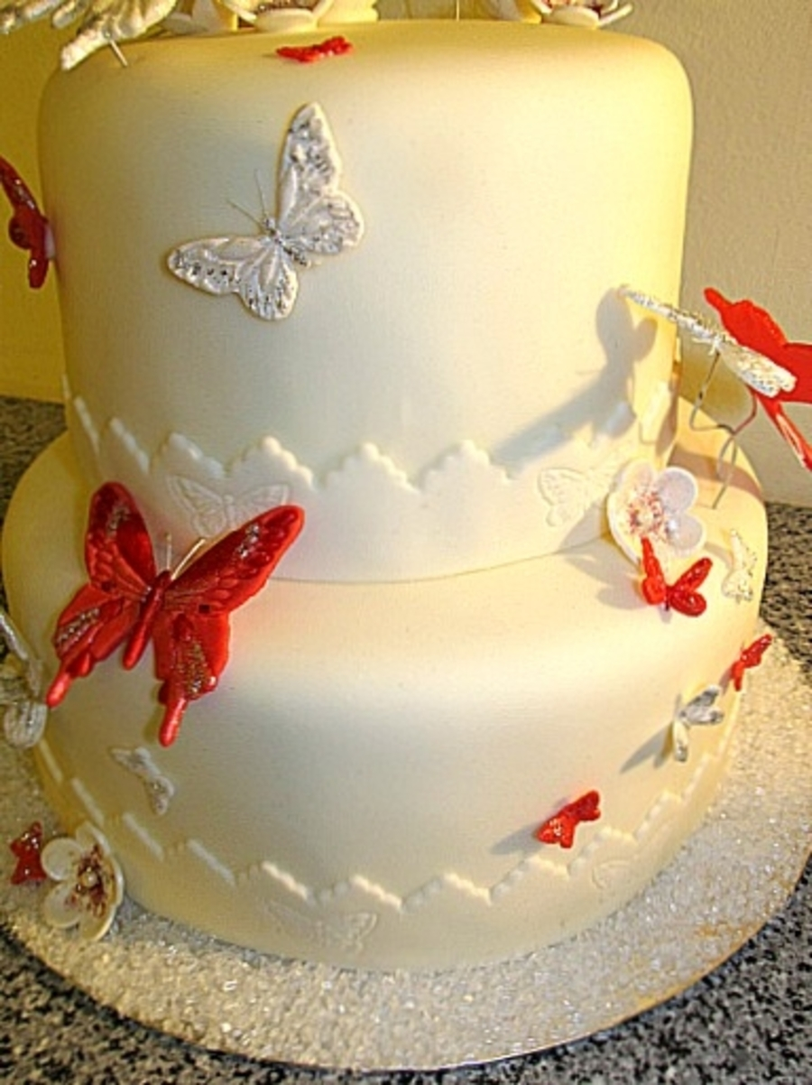 Red And White Butterfly 18Th Birthday Cake - CakeCentral.com