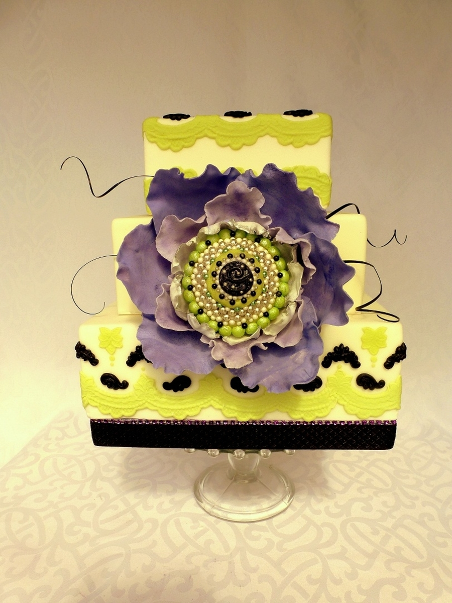 Green And Black With Purple Fantasy Flower - CakeCentral.com