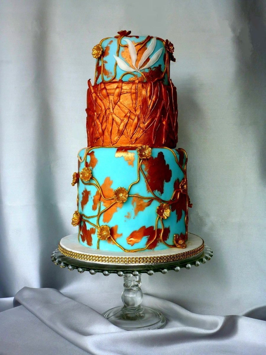 Acqua And Copper With Gold on Cake Central