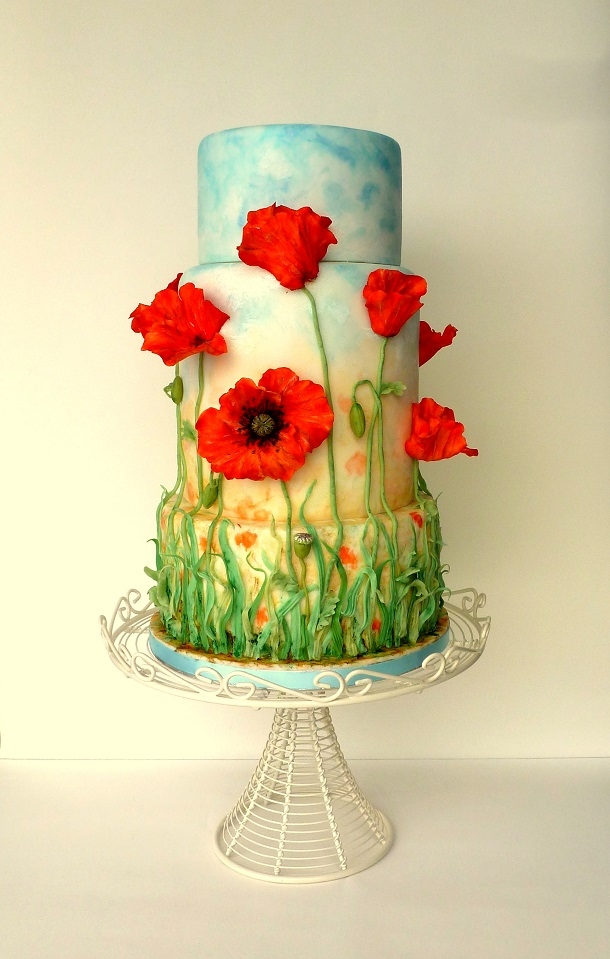 Poppy field wedding cake cakecentral one year ago i made grass decorated cake sky is the limit in my pictures and planned to do a series of similar wedding cakes from then mightylinksfo