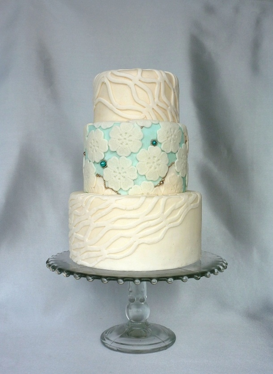 White And Teal Wedding on Cake Central