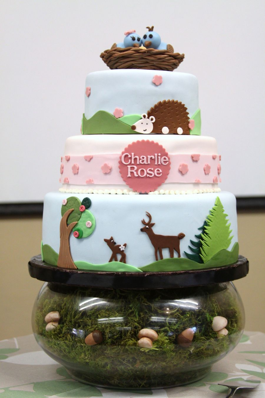 Cake Decoration Woodland Animals : Woodland Animals Baby Shower Cake - CakeCentral.com