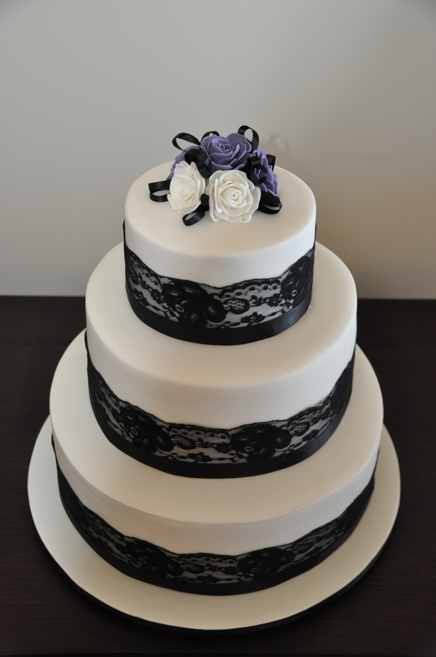Wedding Cake With Black Lace And Roses on Cake Central