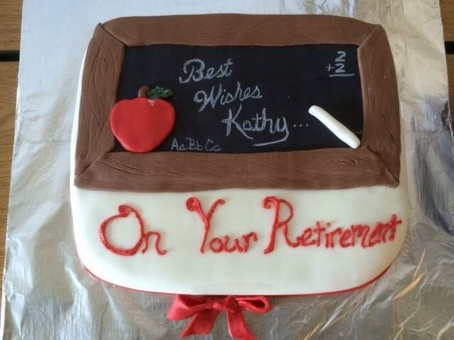 Teacher Retirement Chalk Board Cake on Cake Central