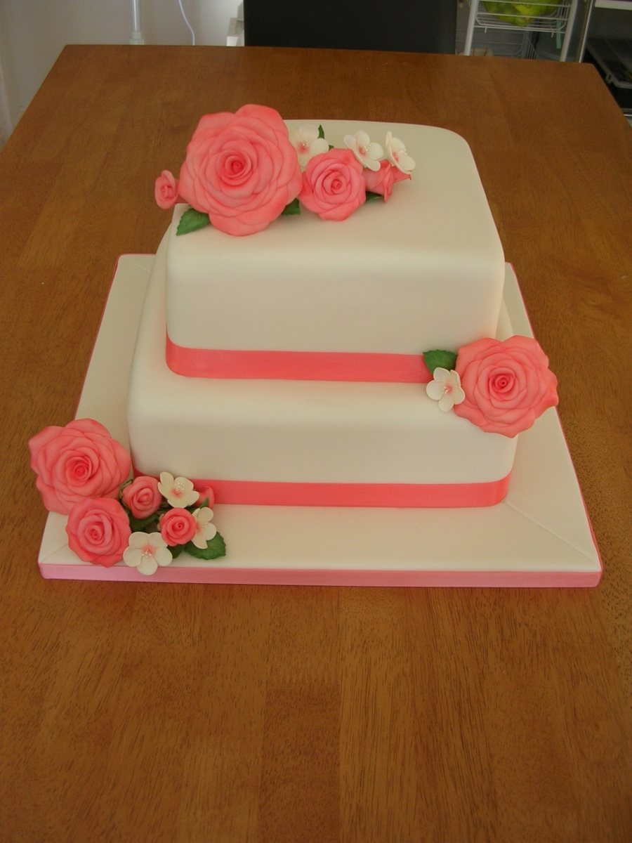 square 2 tier wedding cakes two tier coral and ivory wedding cake cakecentral 20340