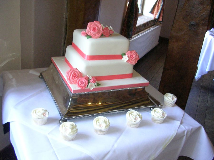square two tier wedding cakes two tier coral and ivory wedding cake cakecentral 20379