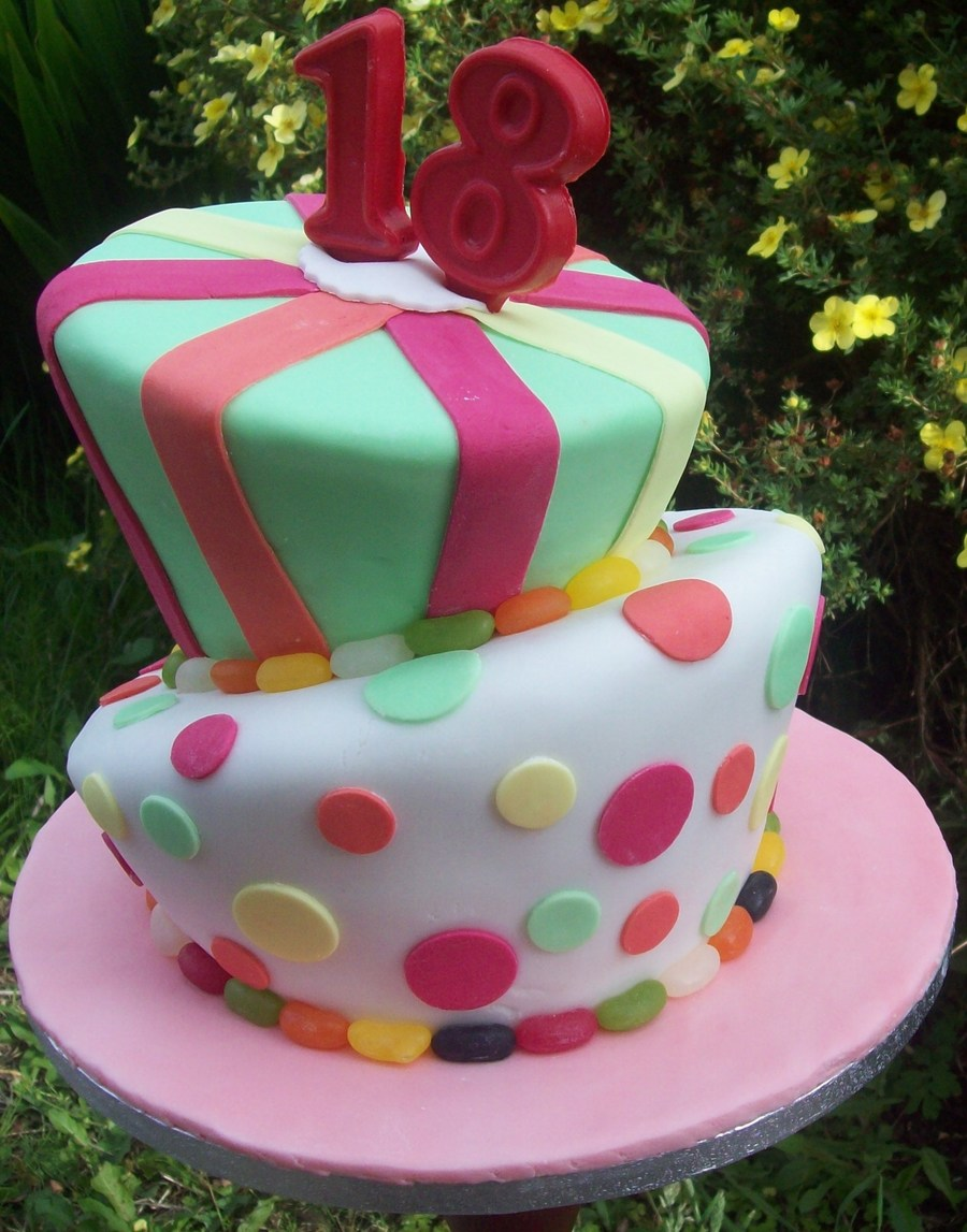 2 Tier 18th Birthday Wonky Spots And Stripes Cake Cakecentral