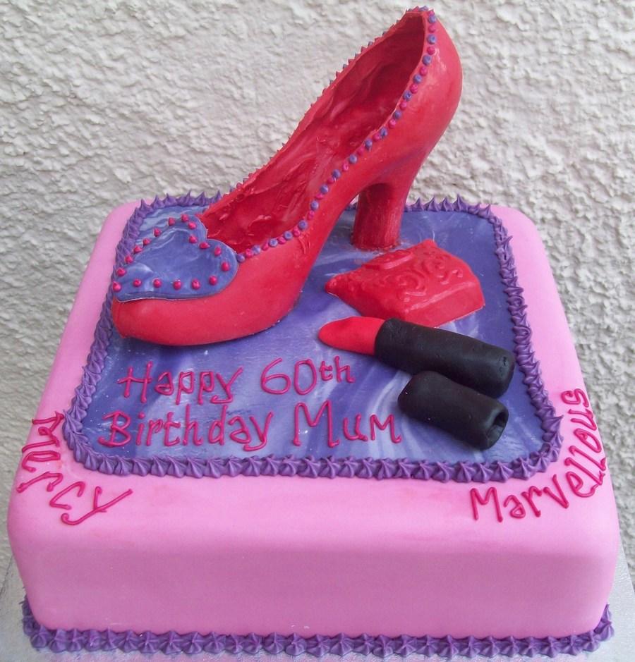 stiletto shoe purse lipstick 60th birthday cake in red purple pink on