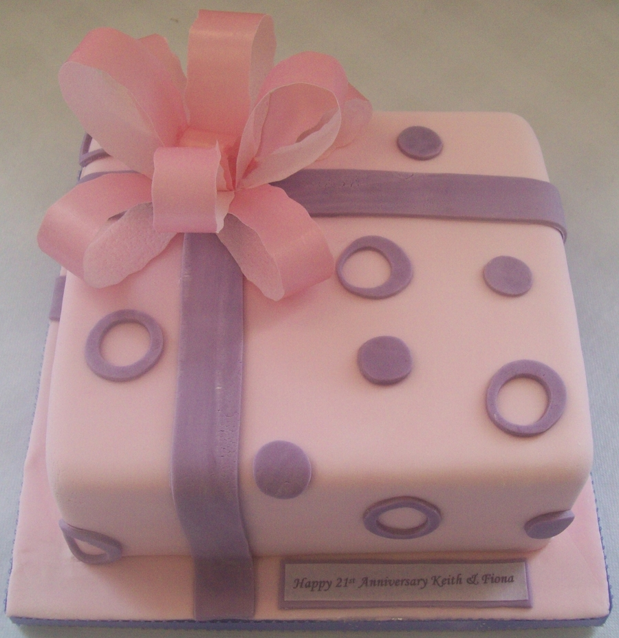 Pink & Lilac Giftwrapped Parcel Birthday Cake on Cake Central