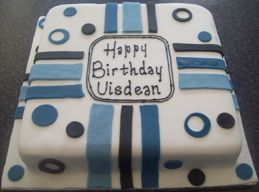 Blue Black White Circles Stripes Mans Birthday Cake On