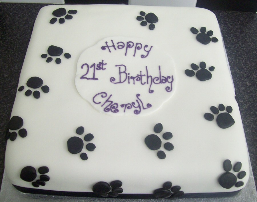 Black Amp White Pawprints 21st Birthday Cake Cakecentral Com