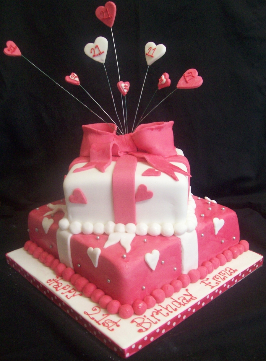 Shocking Pink White 2 Tier 21st Giftwrapped Present Birthday Cake