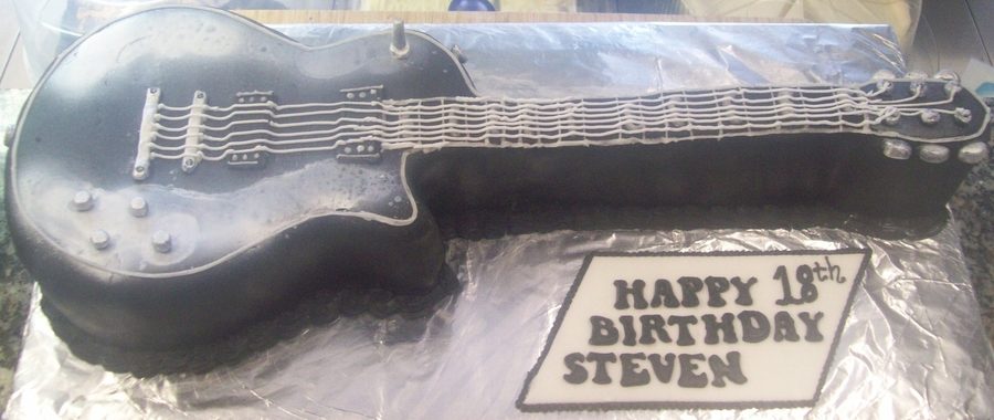 Black & Silver Electric Guitar Birthday Cake on Cake Central