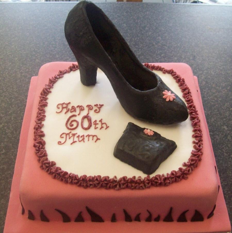 High Heeled Stiletto Shoe Purse 60th Birthday Cake Black White