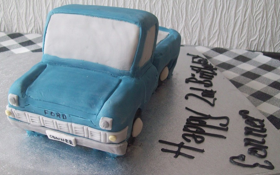 Blue Ford Transit Mark Ii Pickup Truck Birthday Cake  on Cake Central