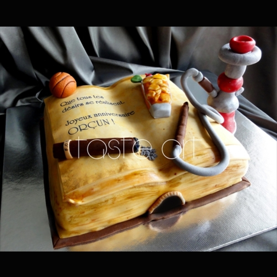 Old Book, Coctail And Water Pipe on Cake Central