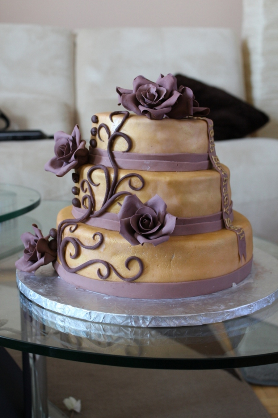 Gold And Purple Birthday Cake Cakecentral Com