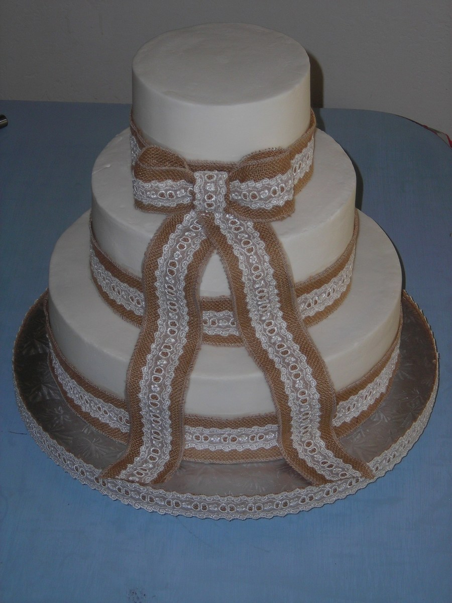 burlap and lace wedding cake burlap amp lace wedding cake cakecentral 12250