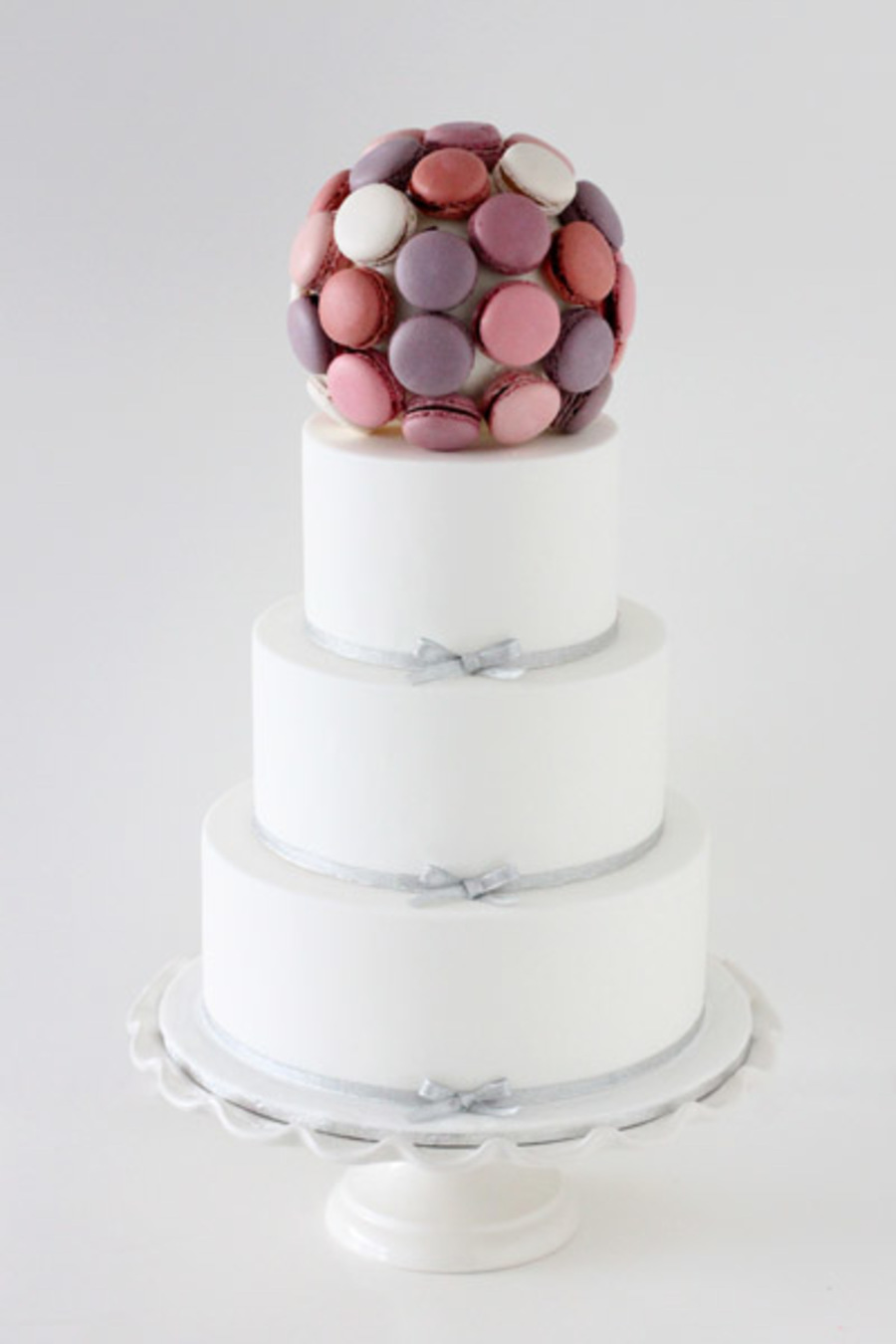 White And Silver With Berry Macaron Ball on Cake Central