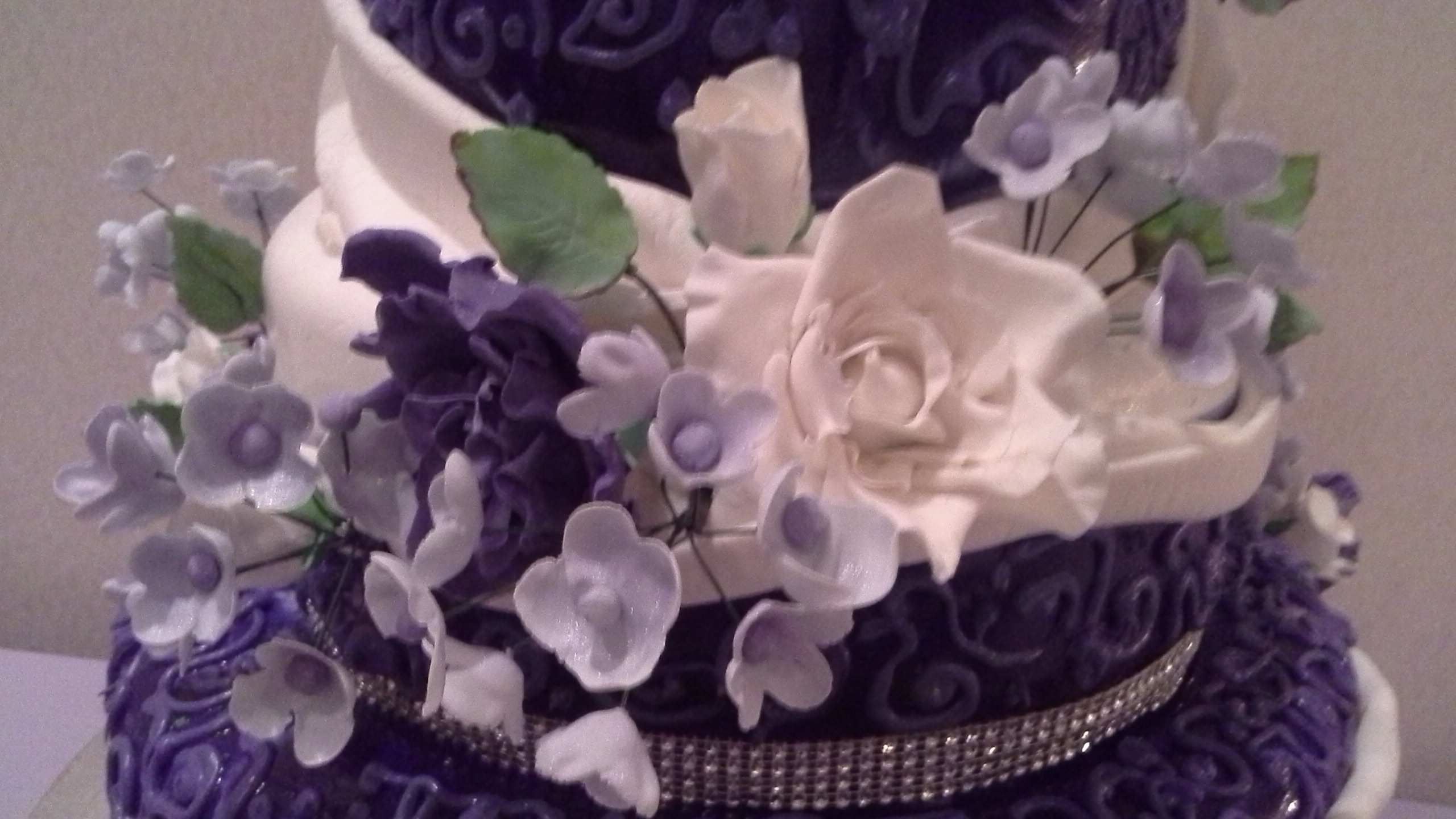 Purple And White Wedding Cake CakeCentral