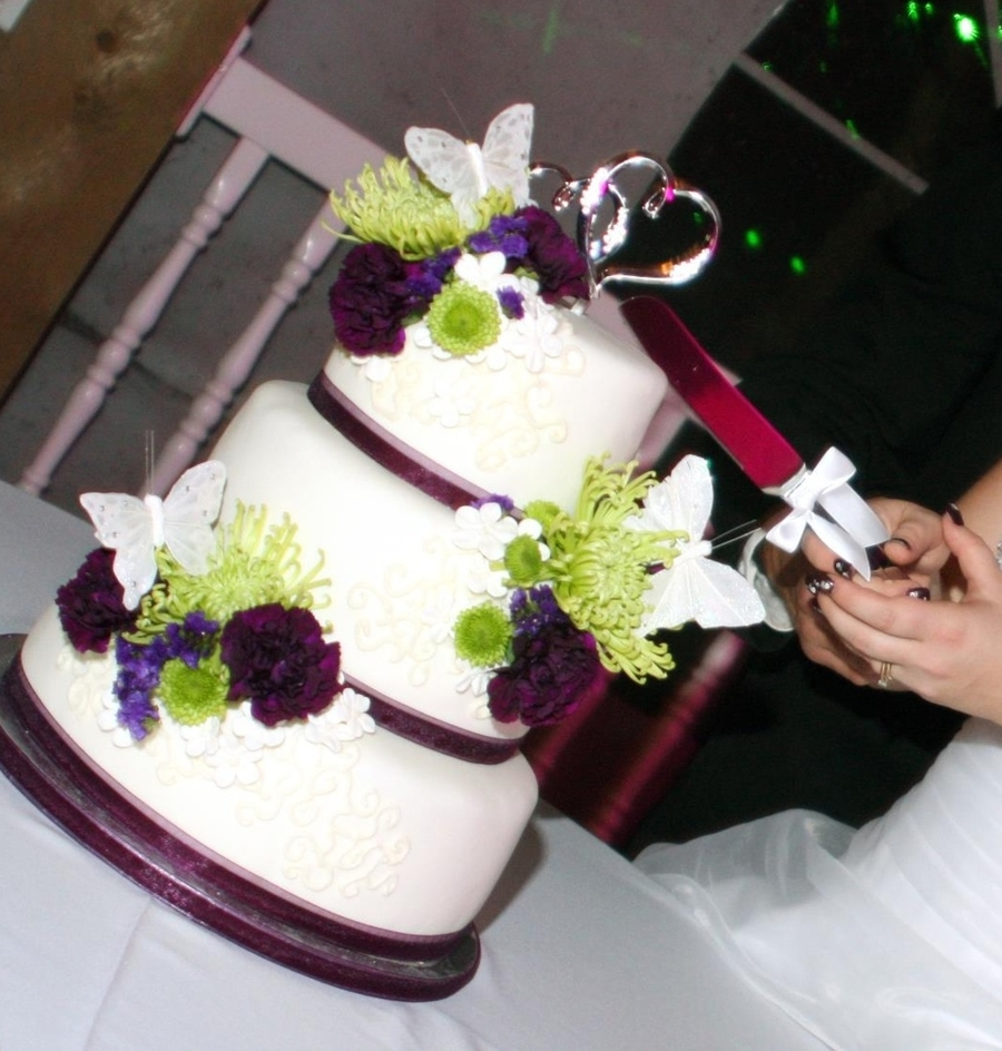 Purple And Green Bloom Wedding Cake - CakeCentral.com