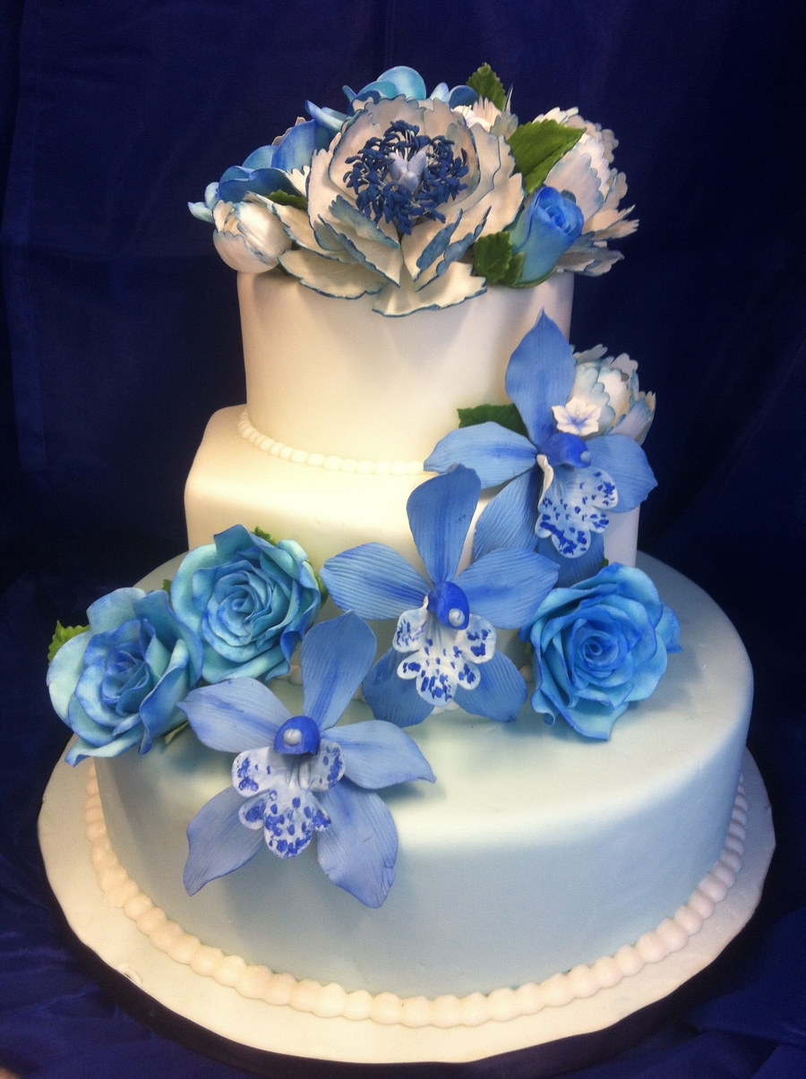 Blue Wedding Cake With Gumpaste Flowers
