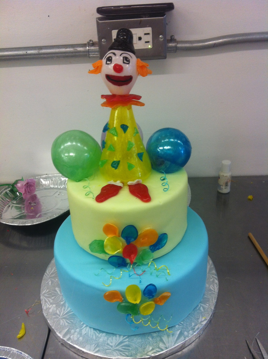 First Attempt At Blown And Pulled Sugarlittle Clown Cake on Cake Central