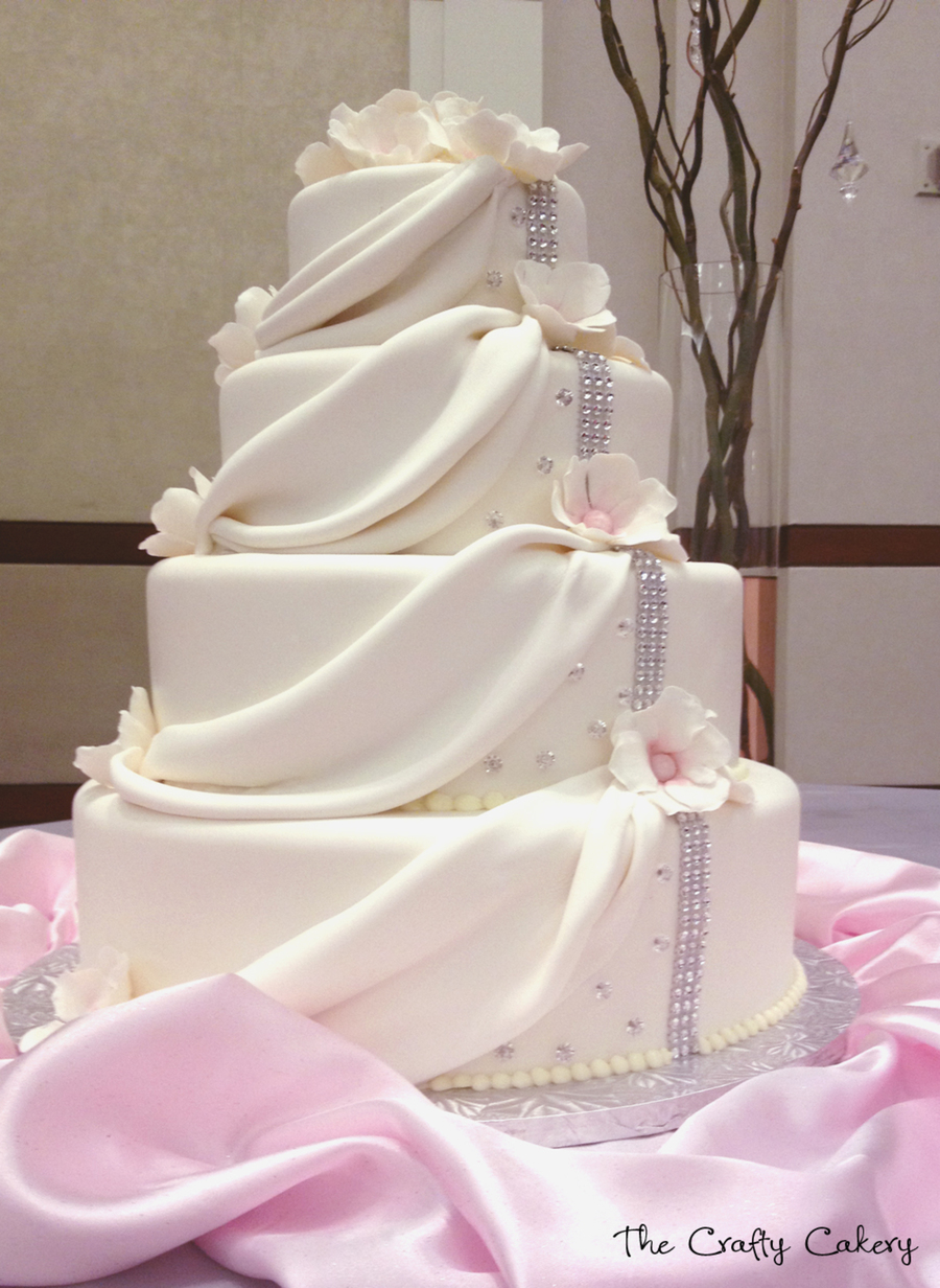 Draped Fondant Wedding Cake With White Flowers And Rhinestone Accents on Cake Central