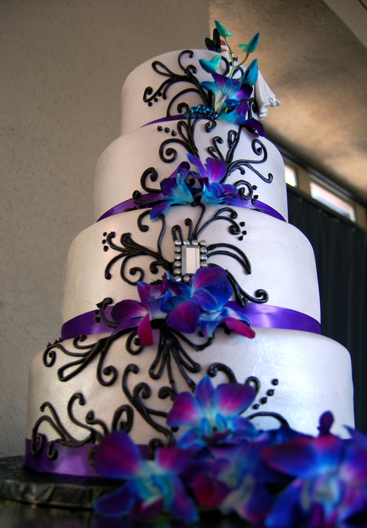 Fondant Wedding Cake With Purple Satin Ribbon Black Piped Scrolls And Fresh Orchids on Cake Central