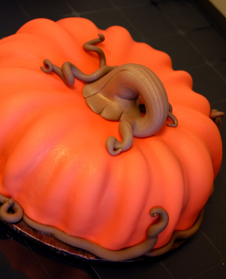3 D Pumpkin Birthday Cake  on Cake Central