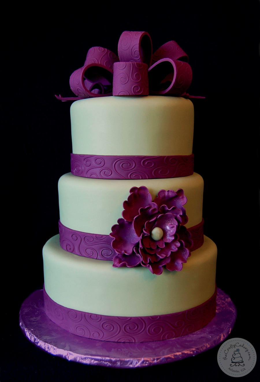 Engagement Party Cake With Fondant Scroll Ribbon And Gumpaste Ruffled Flower Colors Incorporated From The Wedding Sage Green And Plum on Cake Central