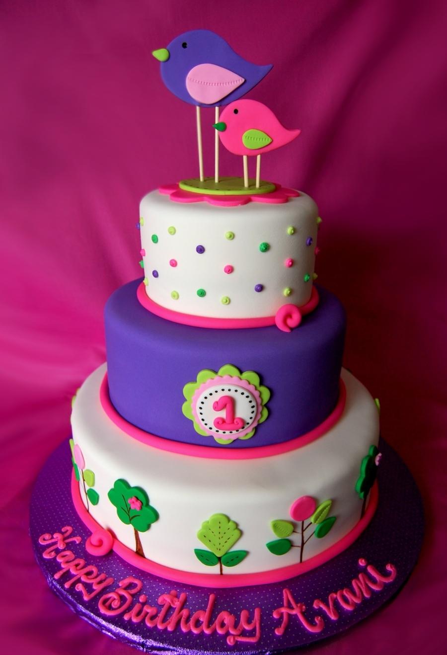 1St Birthday Bird Cake - CakeCentral.com