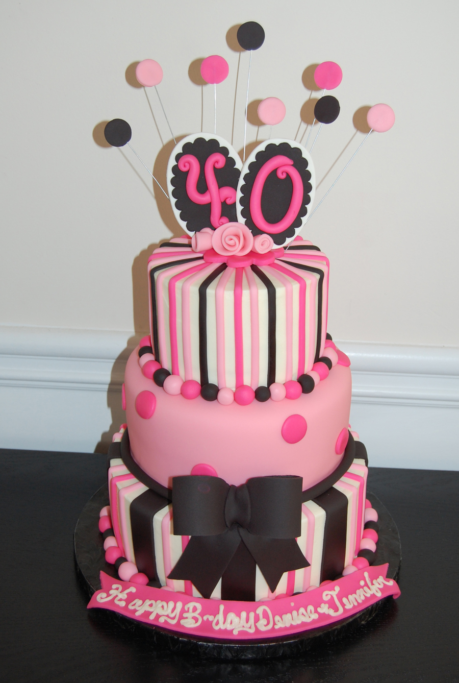 40th birthday cake pink and black for 40th birthday cake decoration