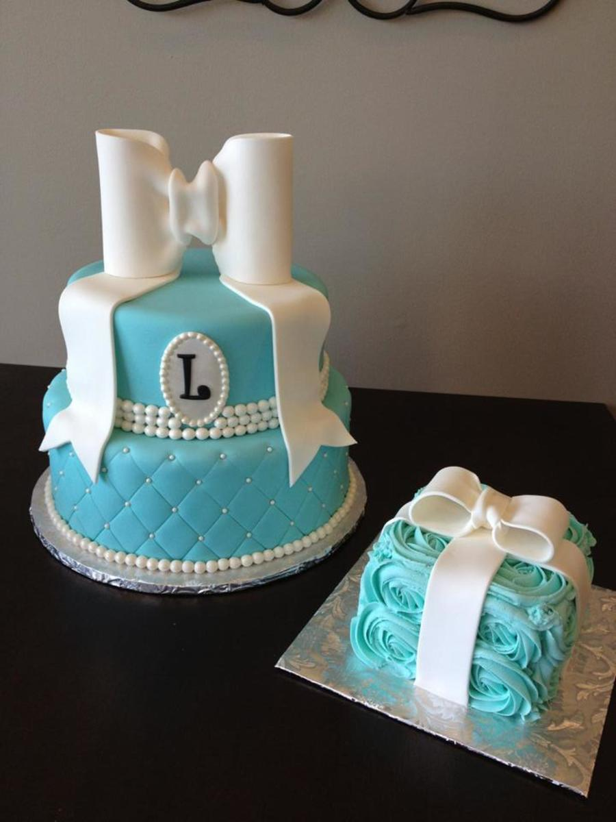 Tiffany Style First Birthday Cake With Matching Smash Cake Large - Monogram birthday cakes
