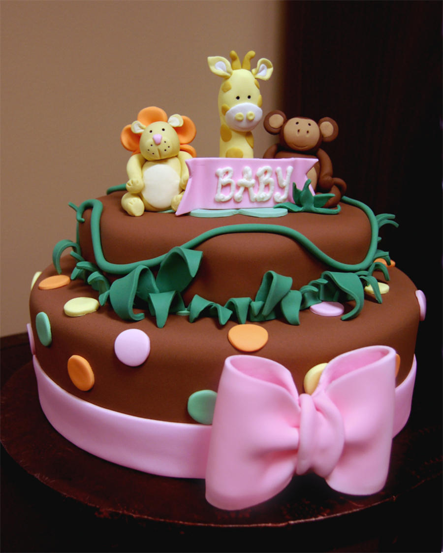 Jungle Themed Baby Girl Shower Cake With Pink Bow Giraffe Lion And Monkey on Cake Central
